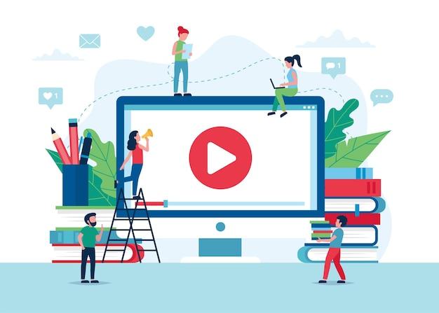 온라인 교육 개념 그림