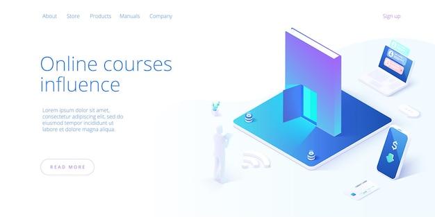 アイソメトリックデザインにおけるオンライン教育の概念。