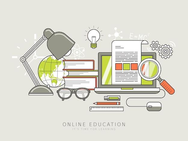 얇은 선 스타일의 온라인 교육 개념