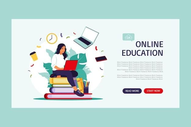 オンライン教育の概念。ランディングページテンプレート。ベクトルイラスト。平らな