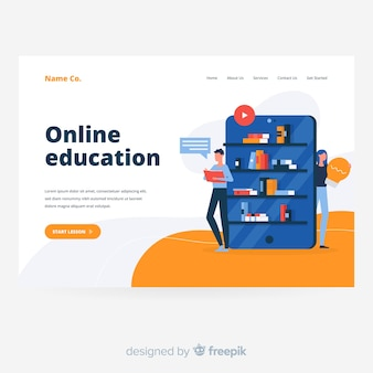 Online education concept landing page