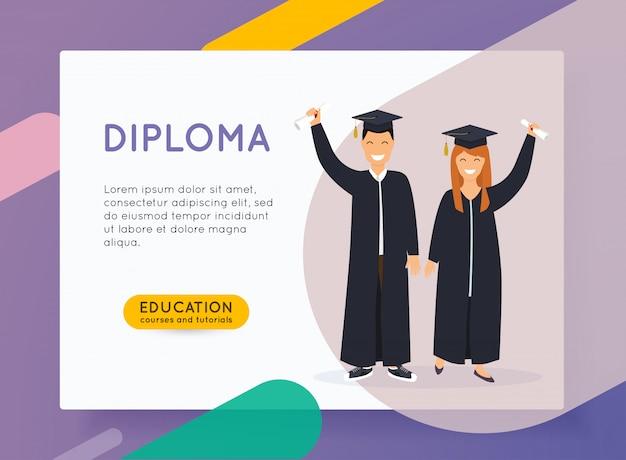 オンライン教育の概念。男と女の卒業生。