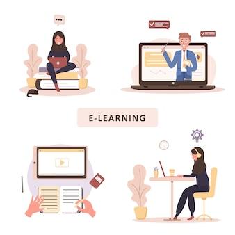 オンライン教育。トレーニングとビデオチュートリアルのコンセプト。自宅で学習する学生。ウェブサイトのバナー、マーケティング資料、プレゼンテーションテンプレート、オンライン広告のイラスト。