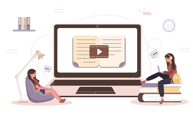 온라인 교육. 교육 및 비디오 자습서의 개념. 집에서 학습하는 학생. 웹 사이트 배너, 마케팅 자료, 프리젠 테이션 템플릿, 온라인 광고에 대 한 그림.