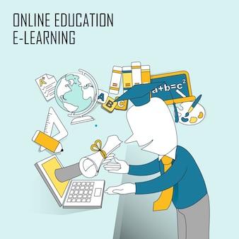 온라인 교육 개념: 컴퓨터 화면을 통해 선 스타일로 졸업장 받기