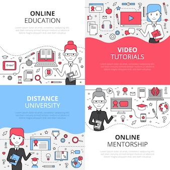Online education concept set with video tutorials distance university and online mentorship
