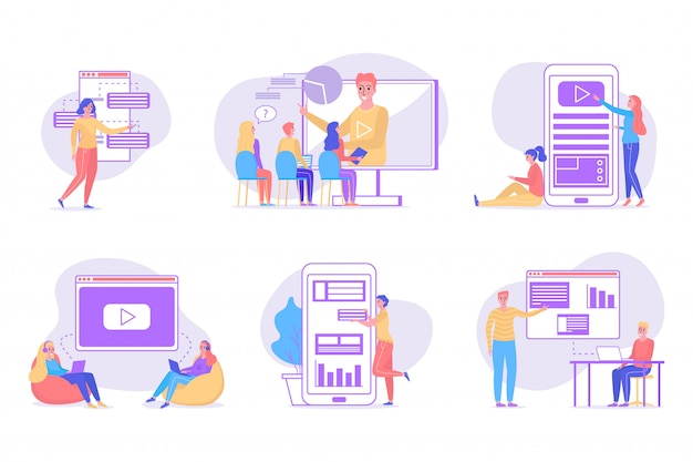Online education concept, studying people illustration isolated collection set.