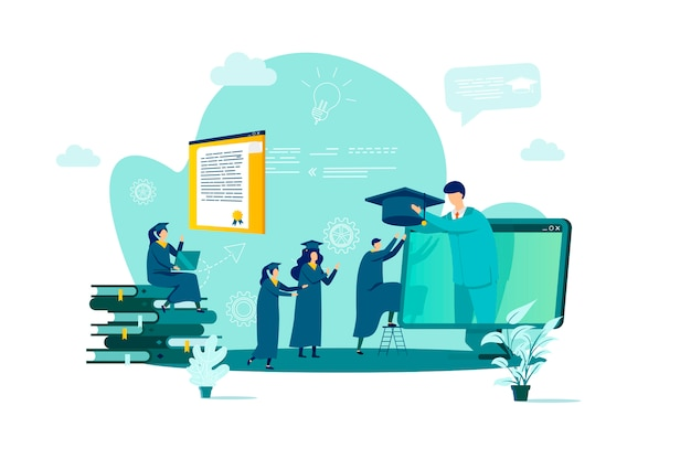 Online education concept in  style with people characters in situation