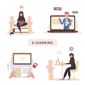 Online education.   concept of training and video tutorials. student learning at home.  illustration for website banner, marketing material, presentation template, online advertising.