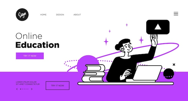 Online education concept. web page templates for education courses. outline vector style.