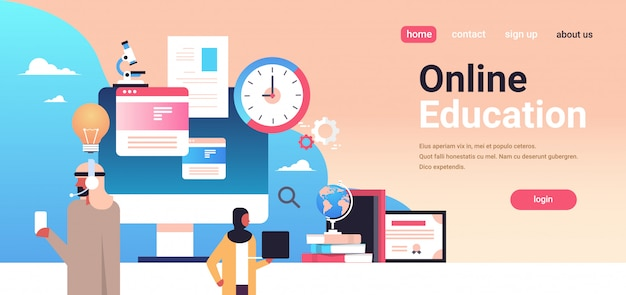 Online education concept with arabic people