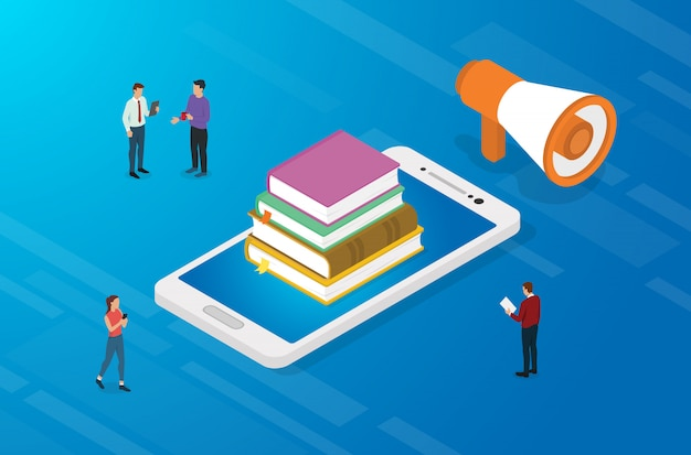 Online education concept with books and smartphone apps with team people