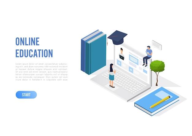 文字を使用したオンライン教育の概念。白い背景にフラットアイソメトリック。