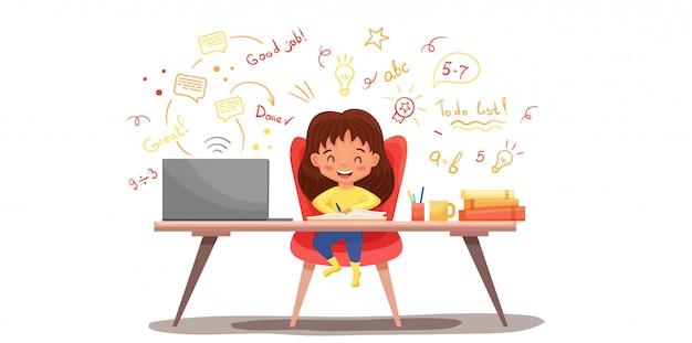 Концепция образования онлайн с милой школьницей, используя ноутбук. используйте для веб-баннера, инфографики.