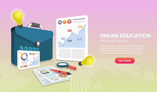 문서와 서류 가방 벡터 3d 벡터 일러스트와 함께 온라인 교육 개념.
