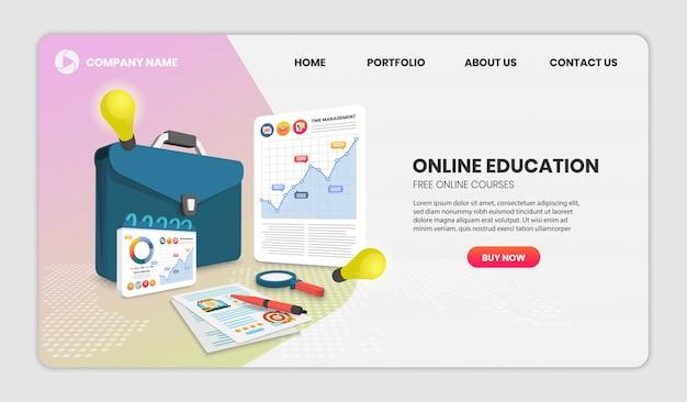 Концепция онлайн-образования с документом и портфелем вектор 3d.