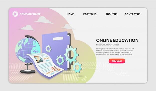 Концепция онлайн-образования с документом и красочным элементом. 3d векторные иллюстрации, изображение героя для веб-сайта. 3d векторные иллюстрации.