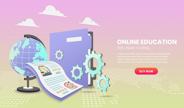 Online education concept with document and colorful element. 3d vector illustration,hero image for website