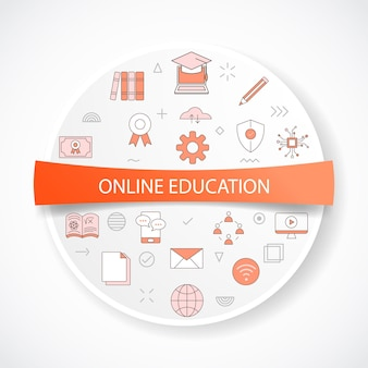 Online education concept with icon concept with round or circle shape vector illustration
