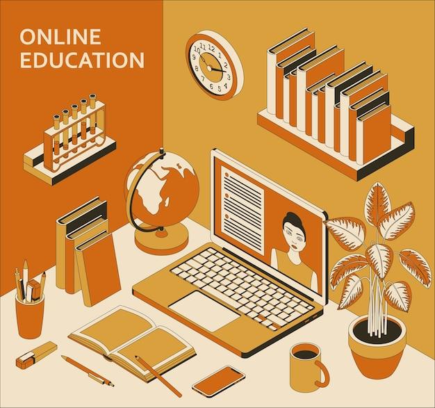 Концепция онлайн-образования с ноутбуком, книгами, глобусом и кофе. учеба дома, онлайн-курсы.