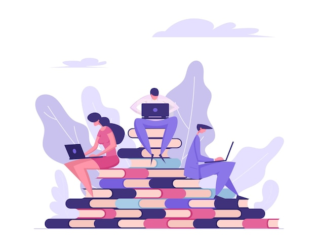 Online education concept with people reading books illustration