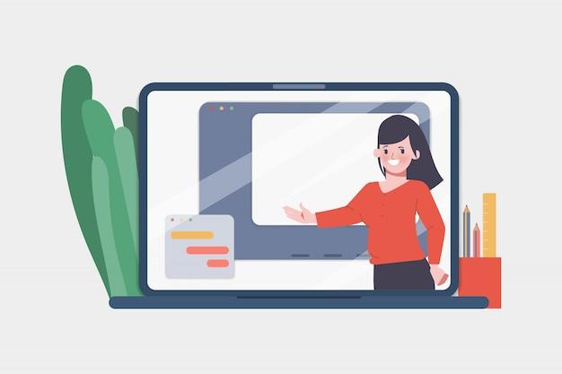 教師とのオンライン教育の概念。 webテンプレートデザイン。