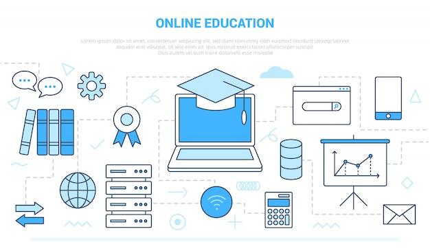 近代的なラインスタイルのコンピューターやインターネットwifiネットワークのようなさまざまなアイコンラインとオンライン教育の概念