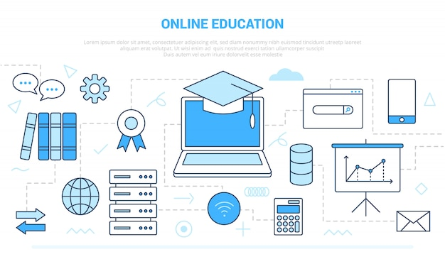 Online education concept with various icon line like computer and internet wifi network with modern line style