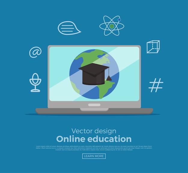 オンライン教育の概念。インターネットとのコンピュータ画面接続リンクを持つ職場の学生。現代のグローバルウェビナーまたはチュートリアル研究のイラスト。 webスクール、コース、トレーニングのためのeラーニング