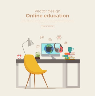 Online education concept. workplace student with computer screen connection link with internet. modern global webinar or tutorial study illustration. e-learning  for web school, courses, training