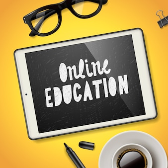Online education concept, workspace with device, glasses and cup of coffee,  illustration.