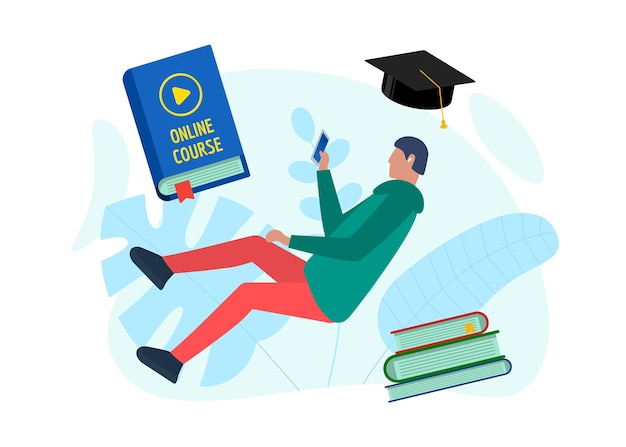 オンライン教育コースのデザインコンセプト。スマートフォンとカバーブックのビデオサインを再生するリモートeラーニング学生のティーンエイジャーの男性。遠隔学習とインターネット教育知識フラットepsテンプレート