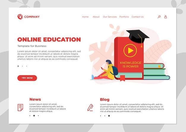 온라인 교육 과정 방문 페이지 템플릿입니다. e-러닝 웹 디자인은 여학생과 많은 책을 조롱합니다. 원격 학습 및 인터넷 학습 지식 웨비나 벡터 개념 그림