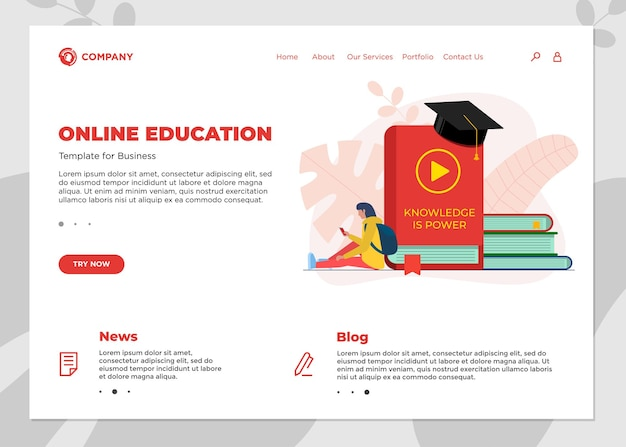 Online education course landing page template. e-learning web design mock up with student female and many books. remote learning and internet studying knowledge webinar vector concept illustration