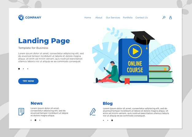 Online education course landing page template. e-learning web design mock up with student male and play video sign on cover book. remote learning and internet studying knowledge webinar vector concept