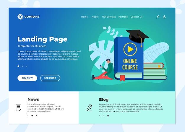 オンライン教育コースのランディングページテンプレート。 eラーニングのwebデザインは、学生の10代の若者とモックアップし、表紙のビデオサインを再生します。遠隔学習とインターネット教育知識ウェビナーの概念