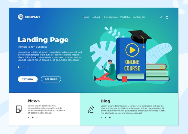 Online education course landing page template. e-learning web design mock up with student teenager and play video sign on cover book. distance studying and internet teaching knowledge webinar concept