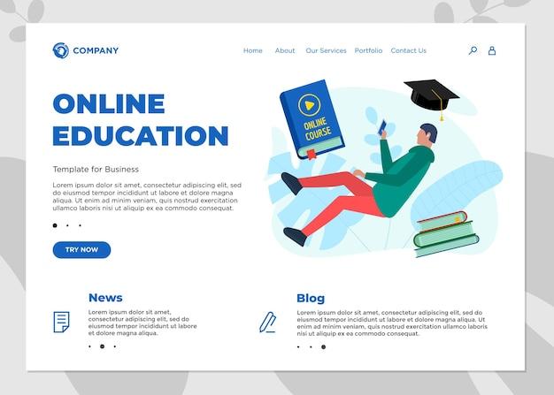 온라인 교육 과정 방문 페이지 템플릿입니다. 10대 학생과 함께 전자 학습 웹 사이트를 흉내내고 표지 책에 비디오 사인을 재생합니다. 원격 학습 및 인터넷 학습 지식 웨비나 벡터 개념