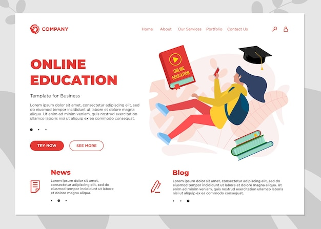 Online education course landing page template. e-learning website mockup with student teenager female and play video sign on cover book. remote learning and internet studying knowledge webinar concept