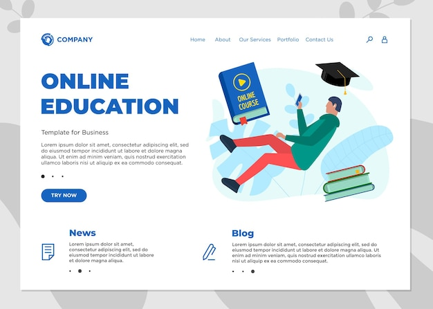 Online education course landing page template. e-learning website mockup with student teenager and play video sign on cover book. remote learning and internet studying knowledge webinar vector concept