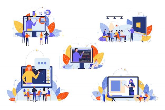 온라인 교육, 코스, 연구, 세미나, 교육 세트 개념