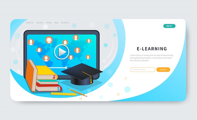Online education courses, distance learning, webinar, tutorials. e-learning platform. web page design template