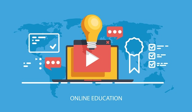 Online education courses and training banner, internet training