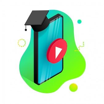 オンライン教育のデザインコンセプト。オンライン学習、ウェビナー、遠隔教育、トレーニングバナー。卒業の帽子と等尺性の電話、流体グラデーション形状の背景の再生ボタン。図