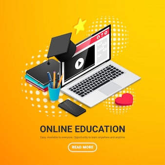 Концепция дизайна онлайн образования. онлайн обучение, вебинар, баннер дистанционного обучения. изометрические рабочее место с ноутбуком, выпускной колпачок, книги, карандаши, телефон, текст и кнопки. иллюстрация
