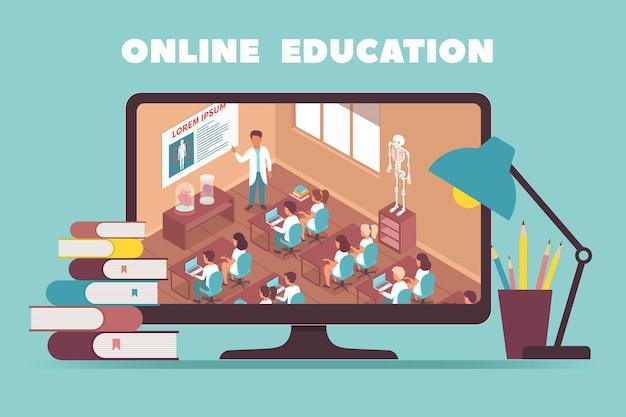 Концепция дизайна онлайн-образования с изображением на мониторе компьютера, показывающим, как учитель проводит урок в классе