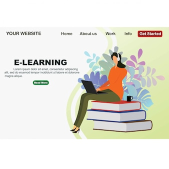 Online education design from flat isometric design