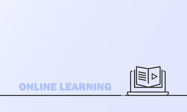 Online education or distance exam banner. course e-learning from home, online studying. vector on isolated background. eps 10.