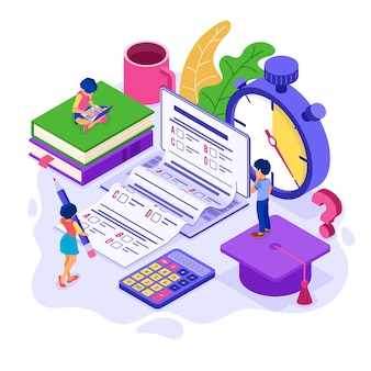 Online education or distance exam test with isometric character internet course e-learning from home girl and boy examing and test on laptop with stopwatch isometric education