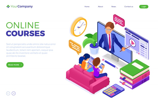 Online education or distance exam with isometric character internet course e-learning from home girl and boy studying on tablet laptop on sofa with teacher landing page template isolated
